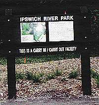 SIGN POST FOR IPSWICH RIVER PARK.
